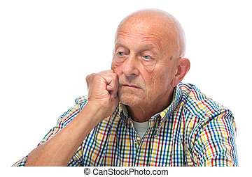 Portrait of a thoughtful senior