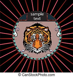 Portrait of a tiger in a circle