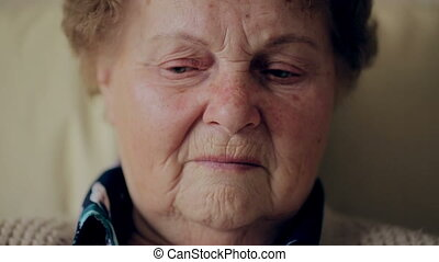 Portrait of a tired elderly woman. - Portrait of a tired...