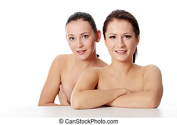 Portrait of a two beautiful and sexy young women