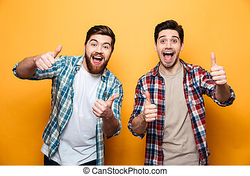 Portrait of a two happy young men