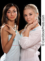 portrait of a two pretty young women