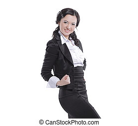 portrait of a very happy business woman. isolated on white background