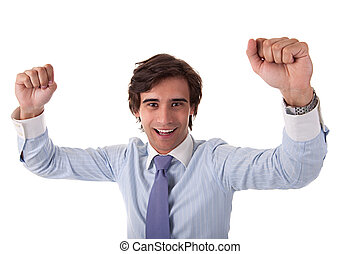 Portrait of a very happy  businessman with his arms raised