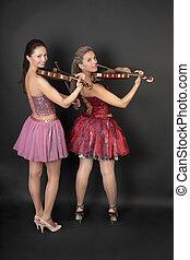 Portrait of a violin duet
