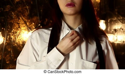 Portrait of a woman and shirt.