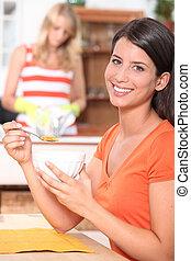 portrait of a woman at breakfast