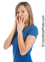 Portrait of a woman expressing shock, fear, surprise.