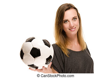 portrait of a woman holding a soccer ball on white background