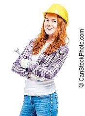 portrait of a woman in a helmet with mechanic keys on a...