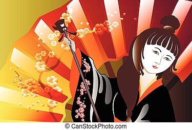 Portrait of a woman in a kimono against the backdrop sacura. EPS10 vector illustration