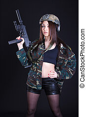 Portrait of a woman in a military uniform with a submachine gun