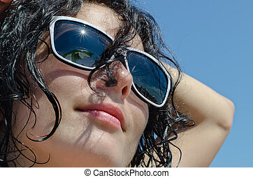 Portrait of a woman in sunglasses