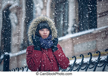 Portrait of a woman in the snow
