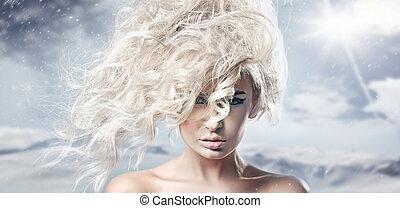 Portrait of a woman in the winter scenery
