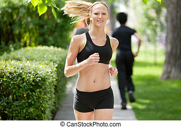 Portrait of a woman jogging