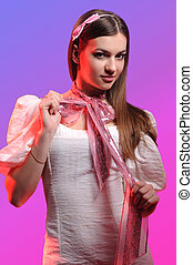 woman on a pink background