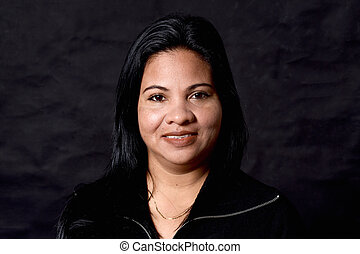 portrait of a woman on black background,