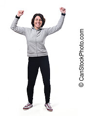 full portrait woman happy and arms up on white background