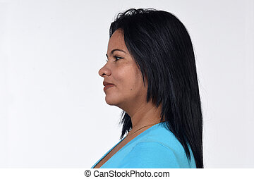 portrait of a woman on white background,profile
