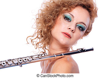 Portrait of a woman playing flute