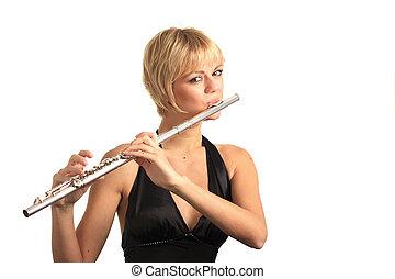 playing transverse flute