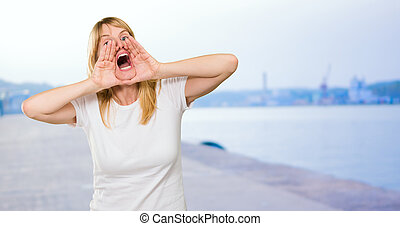 Portrait of a woman shouting