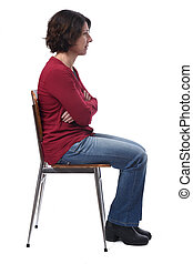 portrait of a woman sitting on a chair in white background, look side l