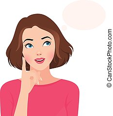 Portrait of a woman thinking - Stock vector illustration...