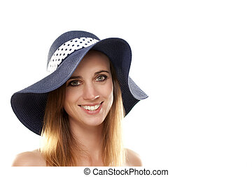 portrait of a woman wearing a summer hat on white background