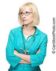 Portrait of a woman wearing doctor uniform