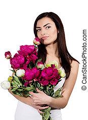 Portrait of a woman with a bouquet