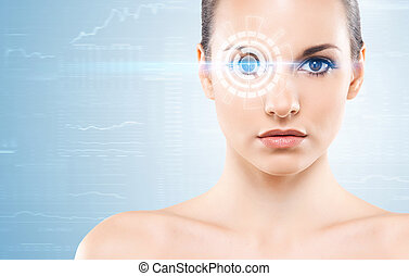Portrait of a woman with a hologram - Young and attractive...