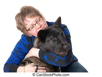 woman with a pet dog