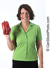 portrait of a woman with pepper white background