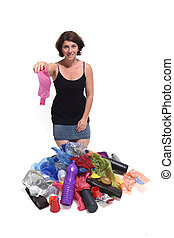 portrait of a woman with plastics in white background