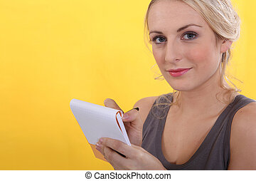 portrait of a woman with shopping list