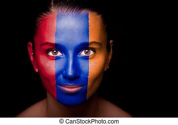 Portrait of a woman with the flag of the Armenia