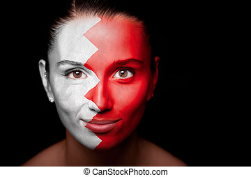 Portrait of a woman with the flag of the Bahrain