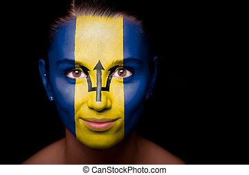 Portrait of a woman with the flag of the Barbados