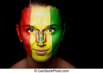 Portrait of a woman with the flag of the Bolivia