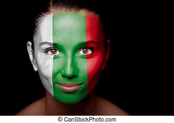 Portrait of a woman with the flag of the Bulgaria