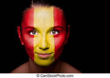 Portrait of a woman with the flag of the Spain