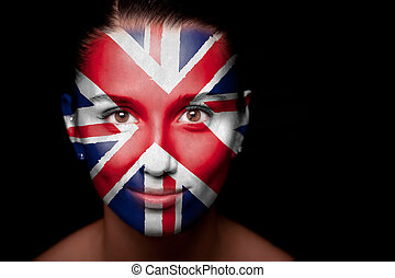 Portrait of a woman with the flag of the UK