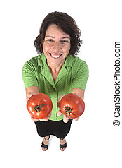portrait of a woman with tomato on white background