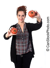 portrait of a woman with tomatoes on white background