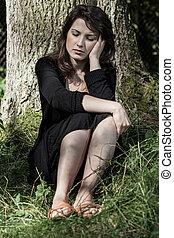 Portrait of a worried woman