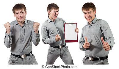 Portrait of a yong ecstatic businessman