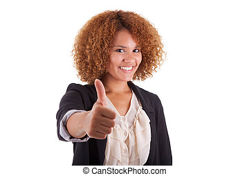 Portrait of a young african american business woman thumbs up, isolated on white background - Black people
