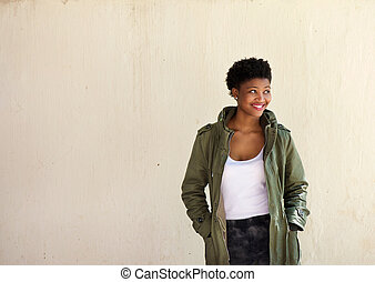 Portrait of a young african american woman smiling